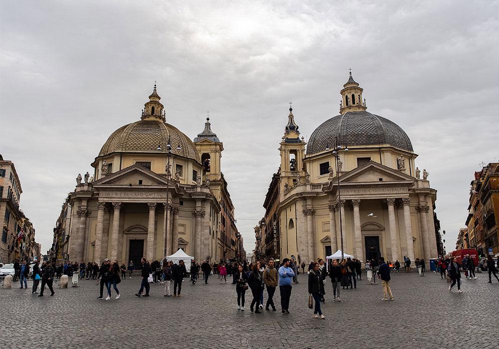 Piazza del Popolo e Chiese Gemelle a Roma